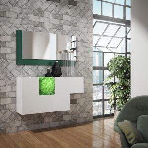 Recibidor moderno con módulo iluminable verde