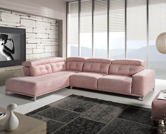 sofa chaise longue rosa