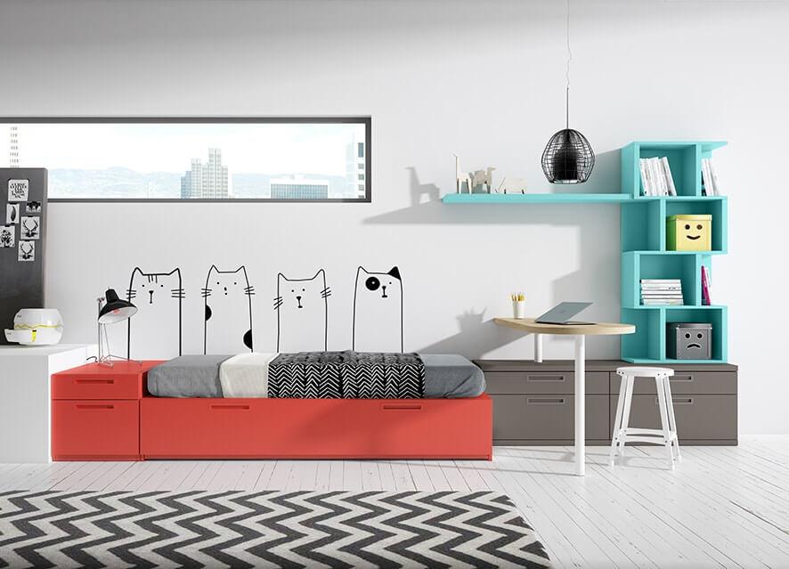dormitorios juveniles con colores vivos