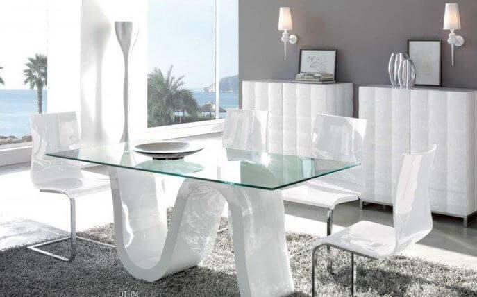 mesa de comedor moderna tapa cristal