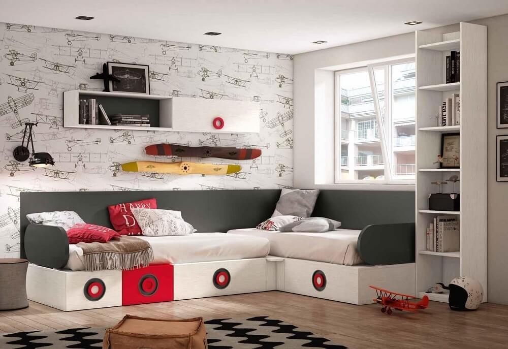 Dormitorios juveniles en L