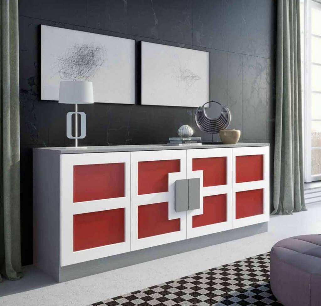 coral aparador moderno diseno madera lacado 1024x975 - Coral: El color del año 2019 para decoración
