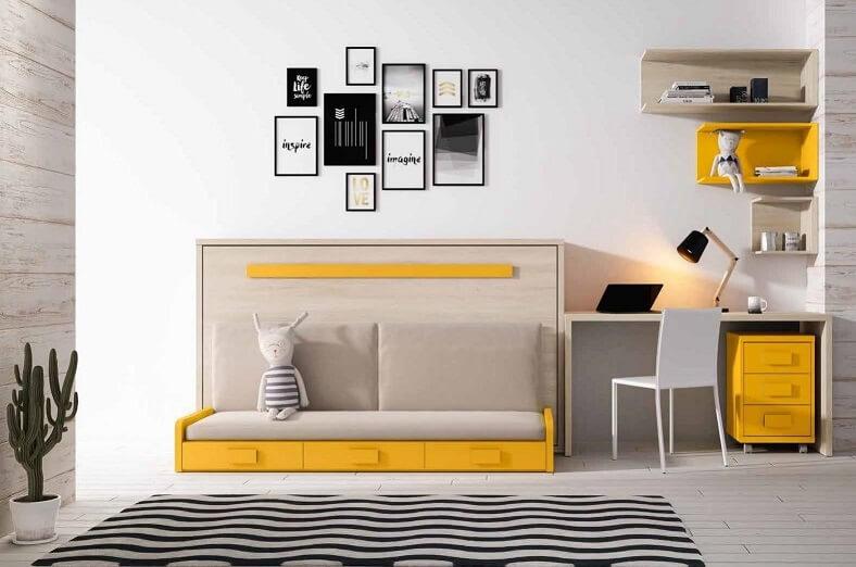 cama abatible dormitorio juvenil infantil 5 - Los mejores dormitorios juveniles con aire moderno
