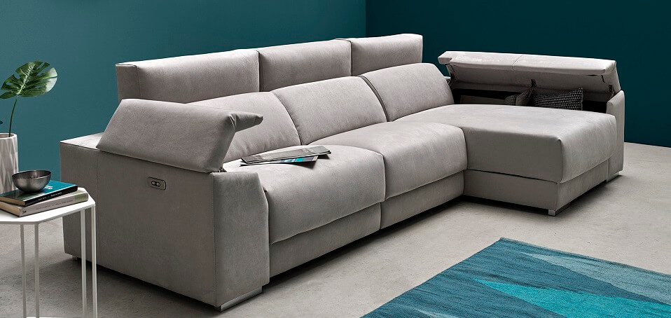 Sofá chaise longue moderno con relax